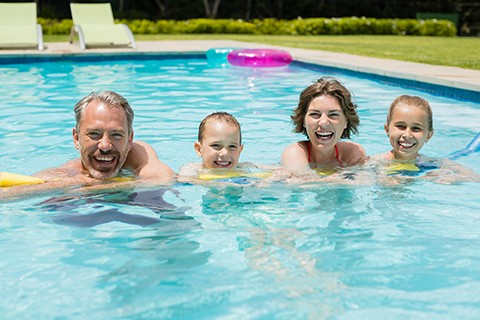 Pool Care Texas Fiberglass Pools Happy Family Customers Enjoying Swimming Pool