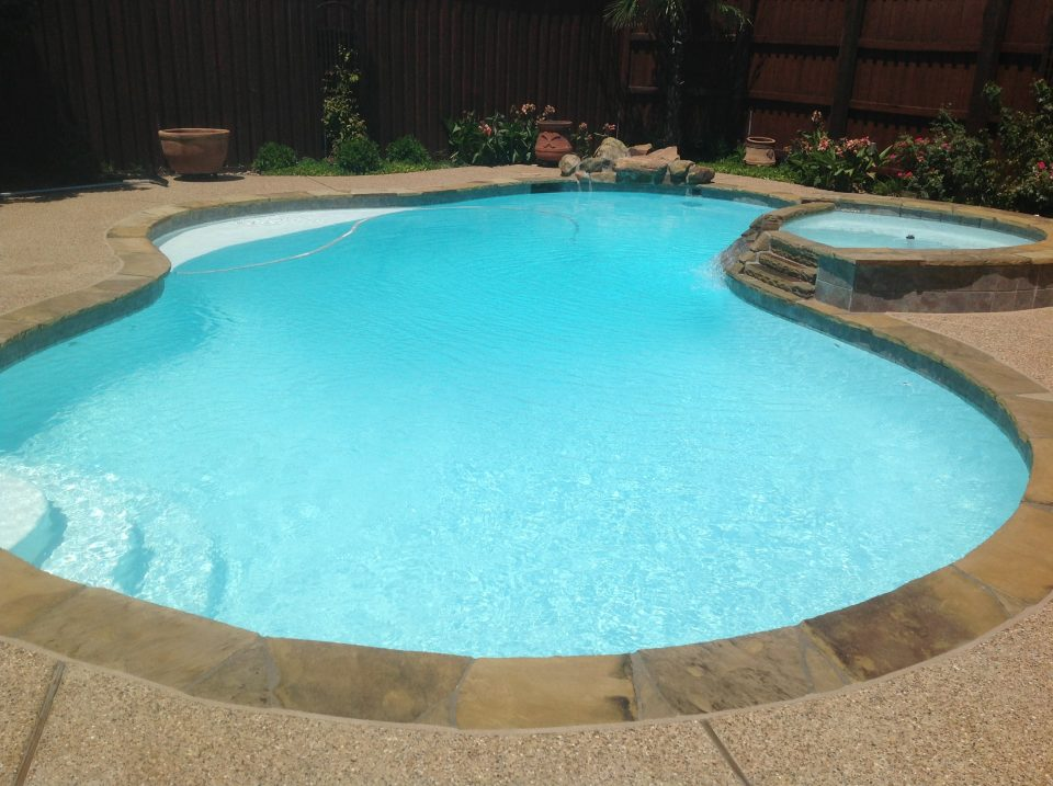 Green fiberglass pool resurfacing